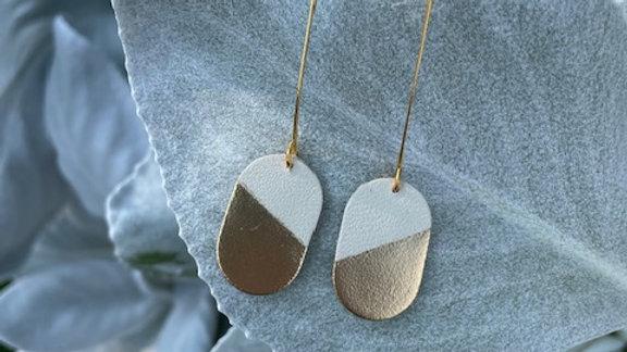 oval gold dipped + drop earrings