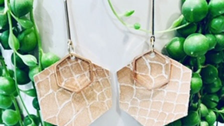 cream textured + stacked drop hexi earring