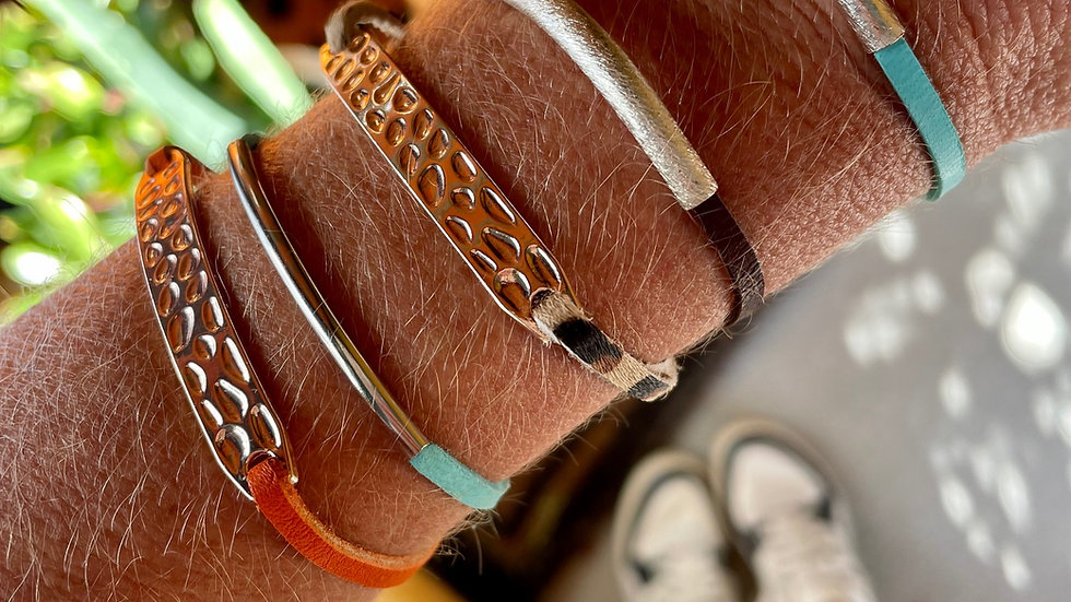 rose gold textured + silver leather bracelets