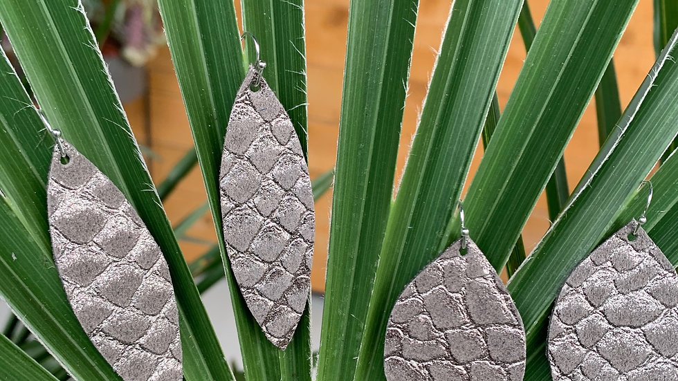 pewter textured + leather earrings