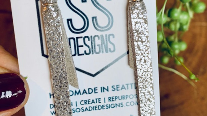 silver leather + sparkle hexi
