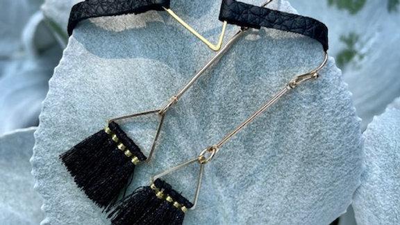 fringy triangle bar drop earrings + bracelet set