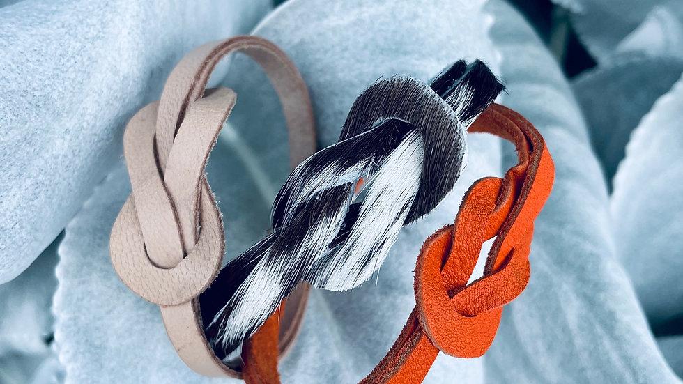 infinity + leather bracelet