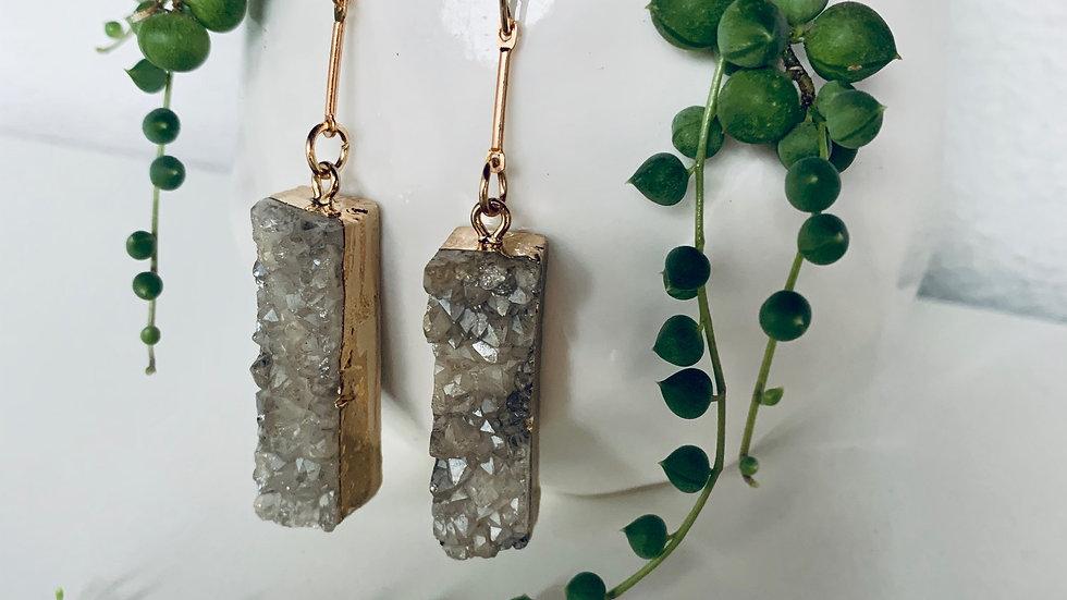 druzy quartz + gold drop earrings {limited edition}