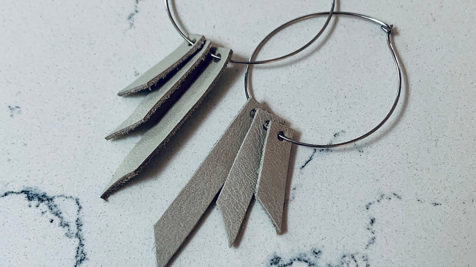 DIY hoop + leather earrings (silver)