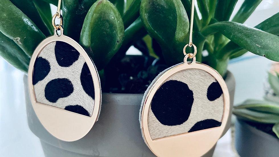 leopard + gold moon drop earrings