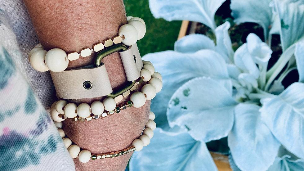 leather + square bracelet