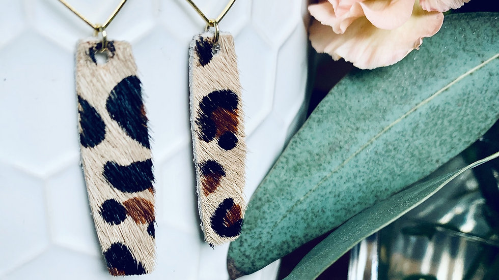 diamond | hexi + leather earrings