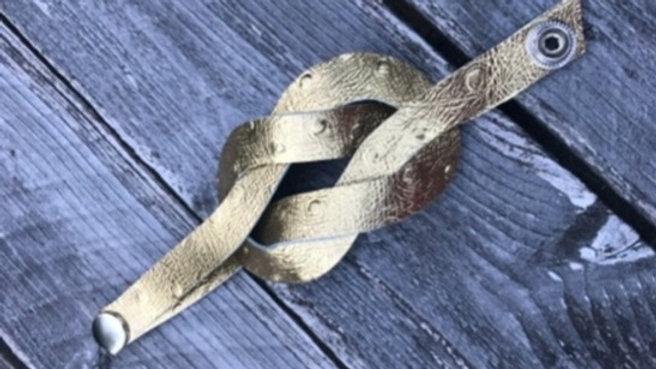 gold leather + knot bracelet