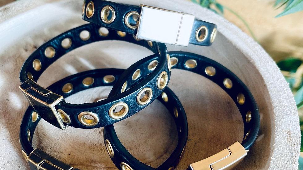 {limited edition} eyelet + leather bracelet