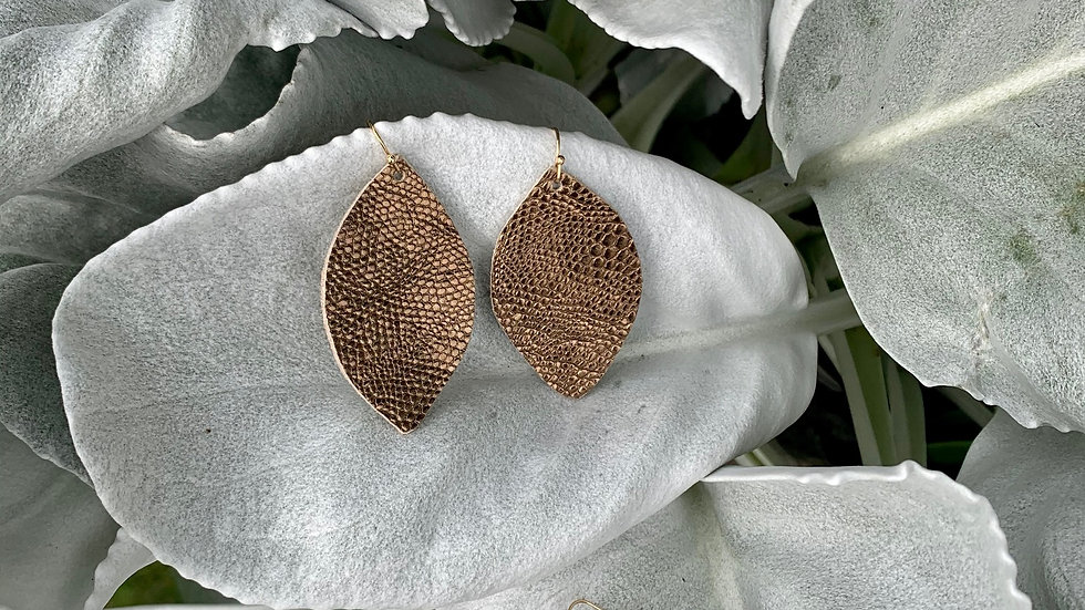 copper pebbled leather + earrings