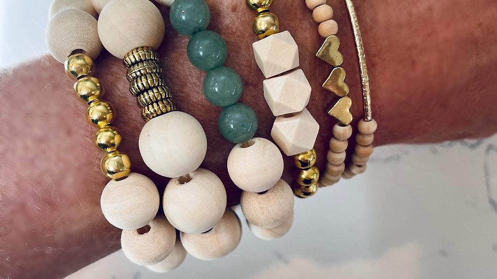dainty heart + bead bracelet set