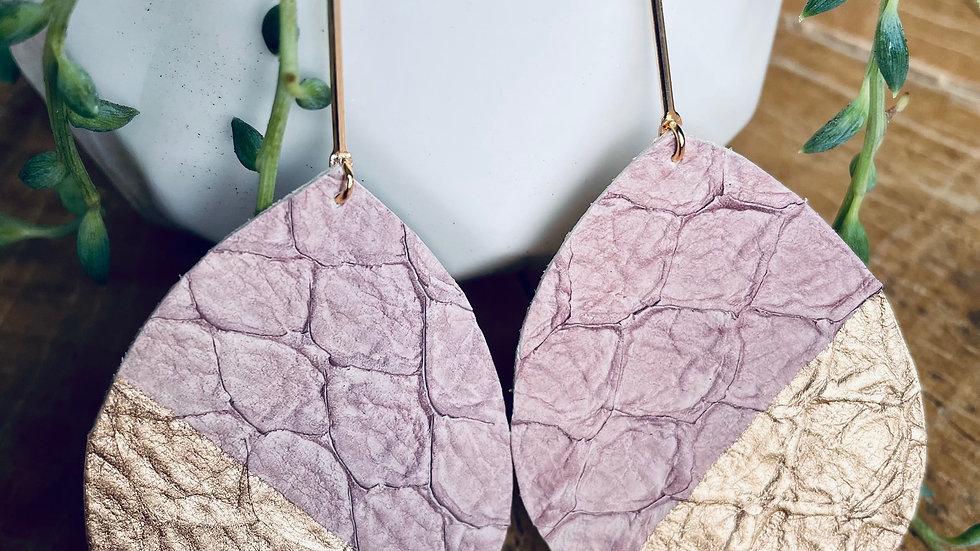 leather dipped+bar drop earrings