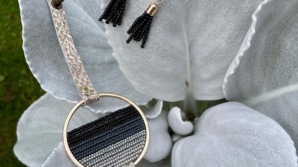 {limited edition} cream metallic leather + bead bracelet set
