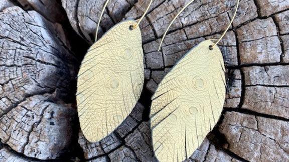 gold textured leather + fringe drop