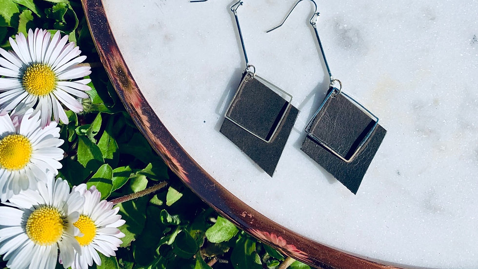 grey leather + double diamond drops