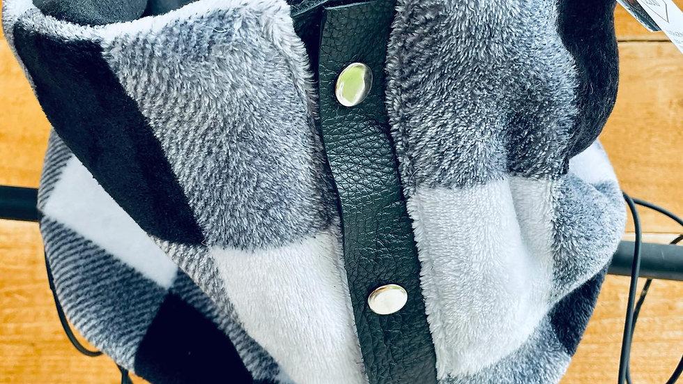 buffalo plaid + leather/zipper scarf