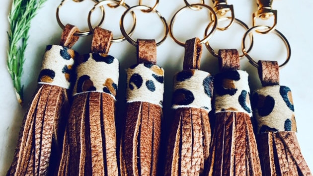 leather + hair on leopard keychains