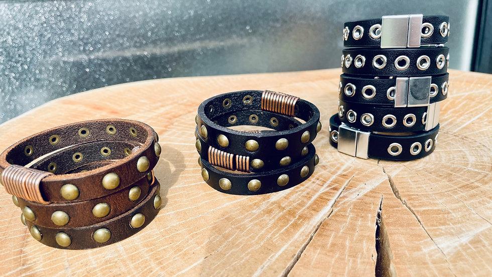 leather + studded bracelet