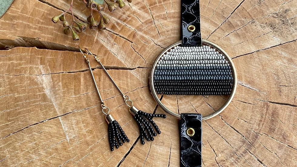 {limited edition} black leather + bead set
