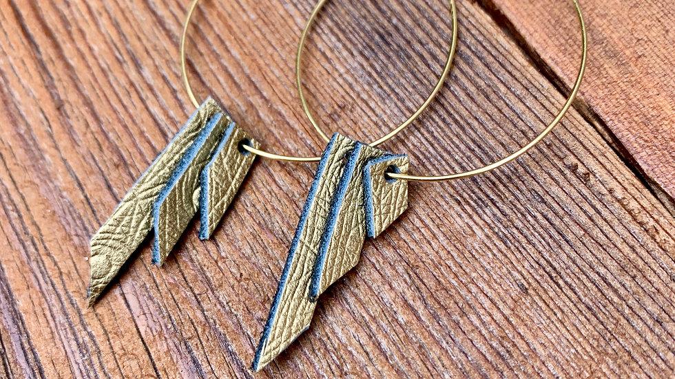 DIY hoop + leather earrings (gold)