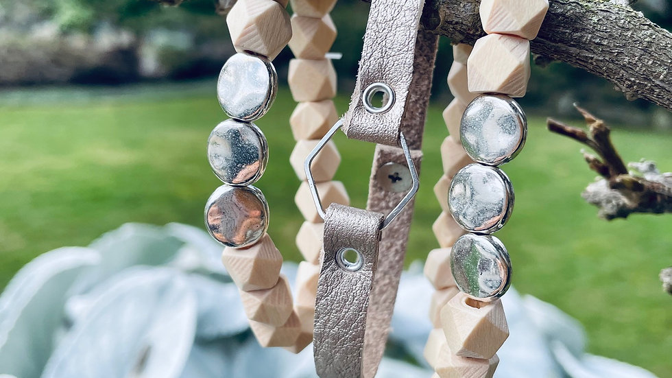 hexi wood beads + sterling circle bracelets