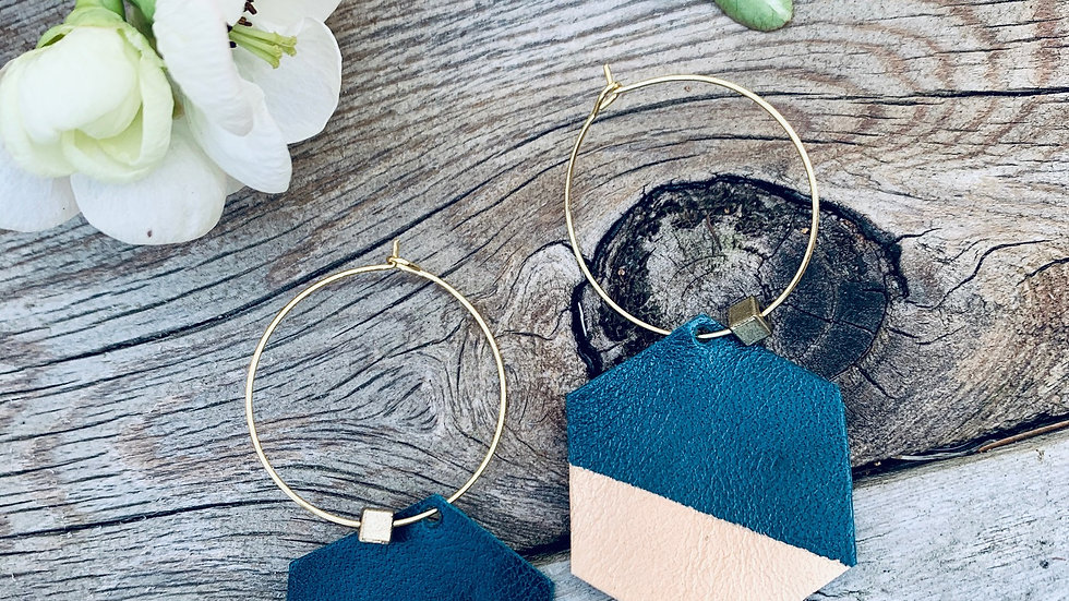teal leather + hexi dipped hoops
