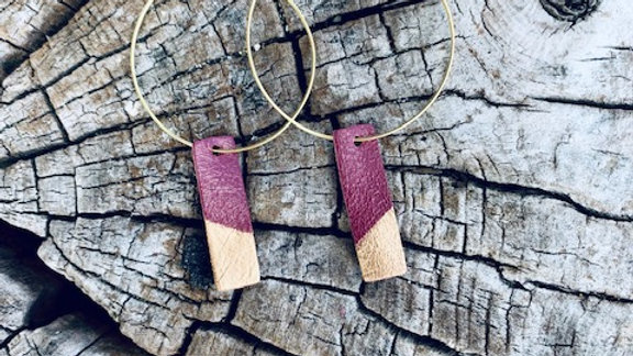 deep ruby leather + gold hoops