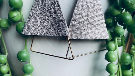 pewter leather + triangles