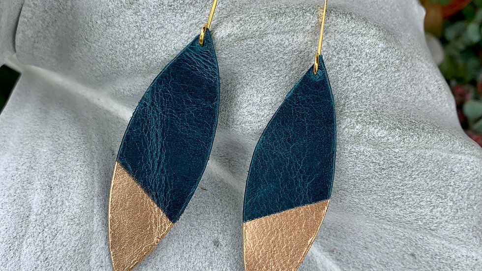 leather drop + gold dipped earrings