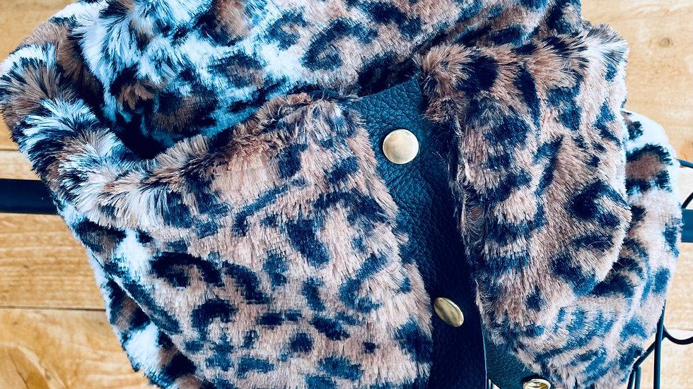 lux fleece + faux leopard scarf