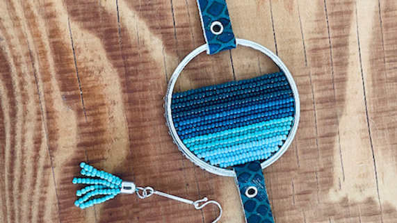 {limited edition} teal leather + bead bracelet