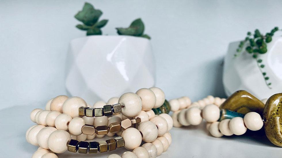 wood bead + bracelet stackers