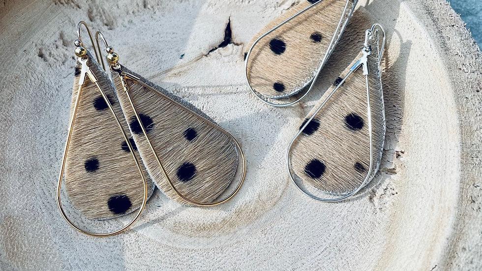 spot on + cowhide earrings