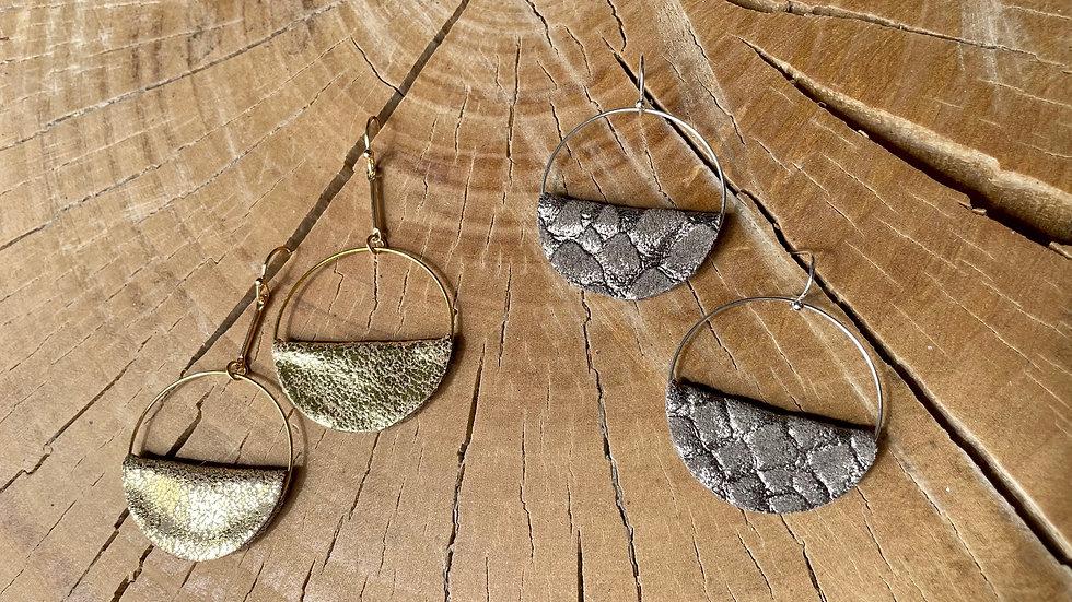 leather half moon + drop earrings