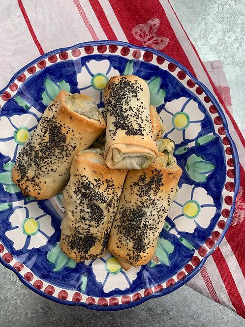 8 Greek inspired spinach & feta rolls with lemon