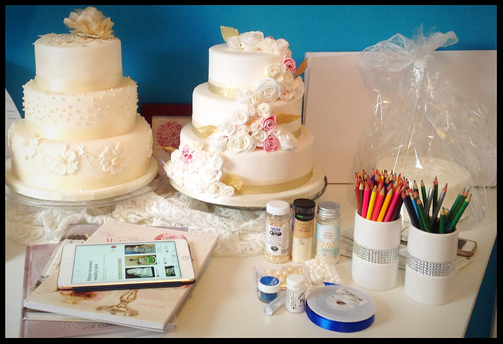 Wedding cake samples on show for a wedding cake consultation