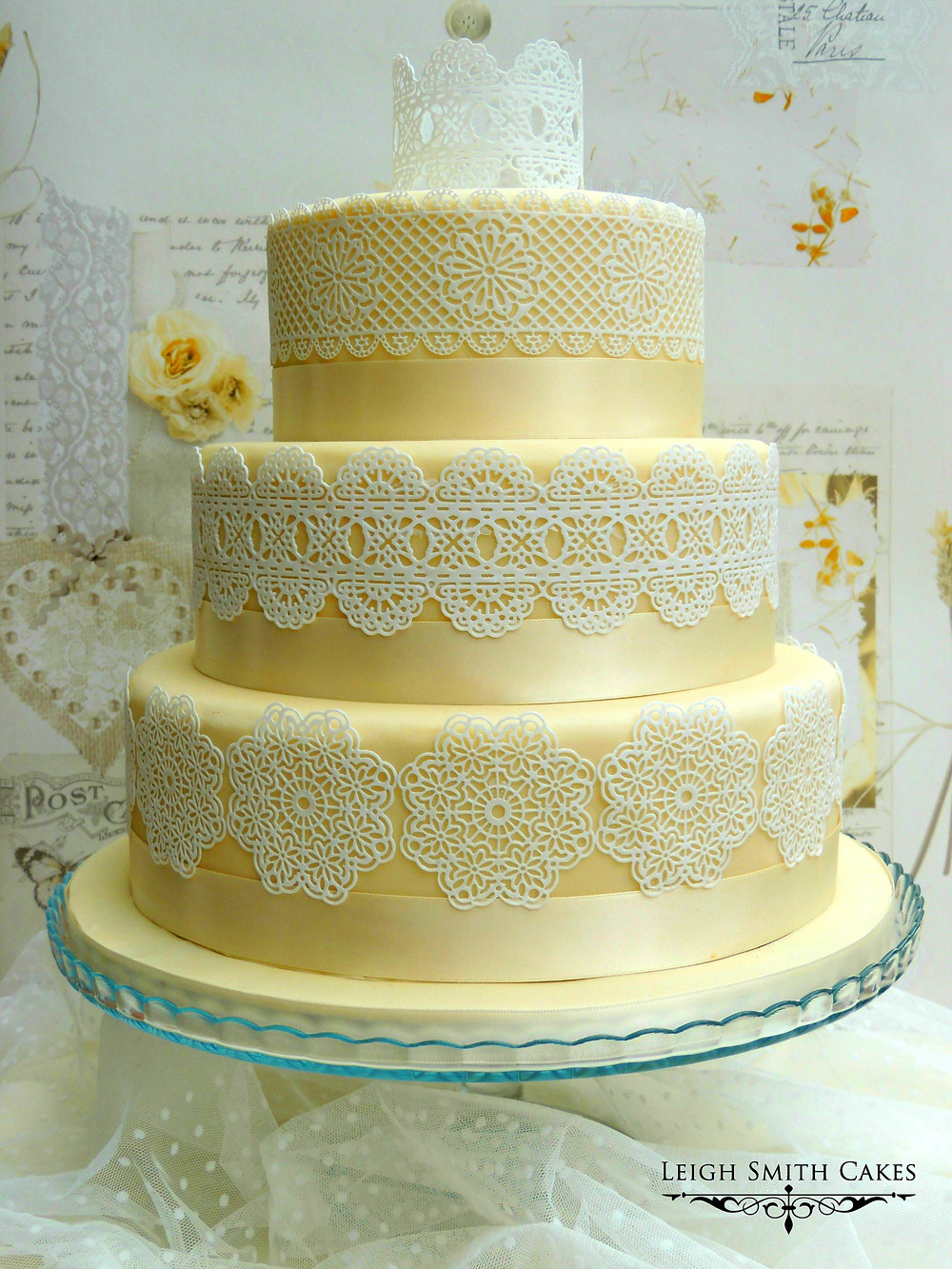 Wedding cake decorated with cake lace