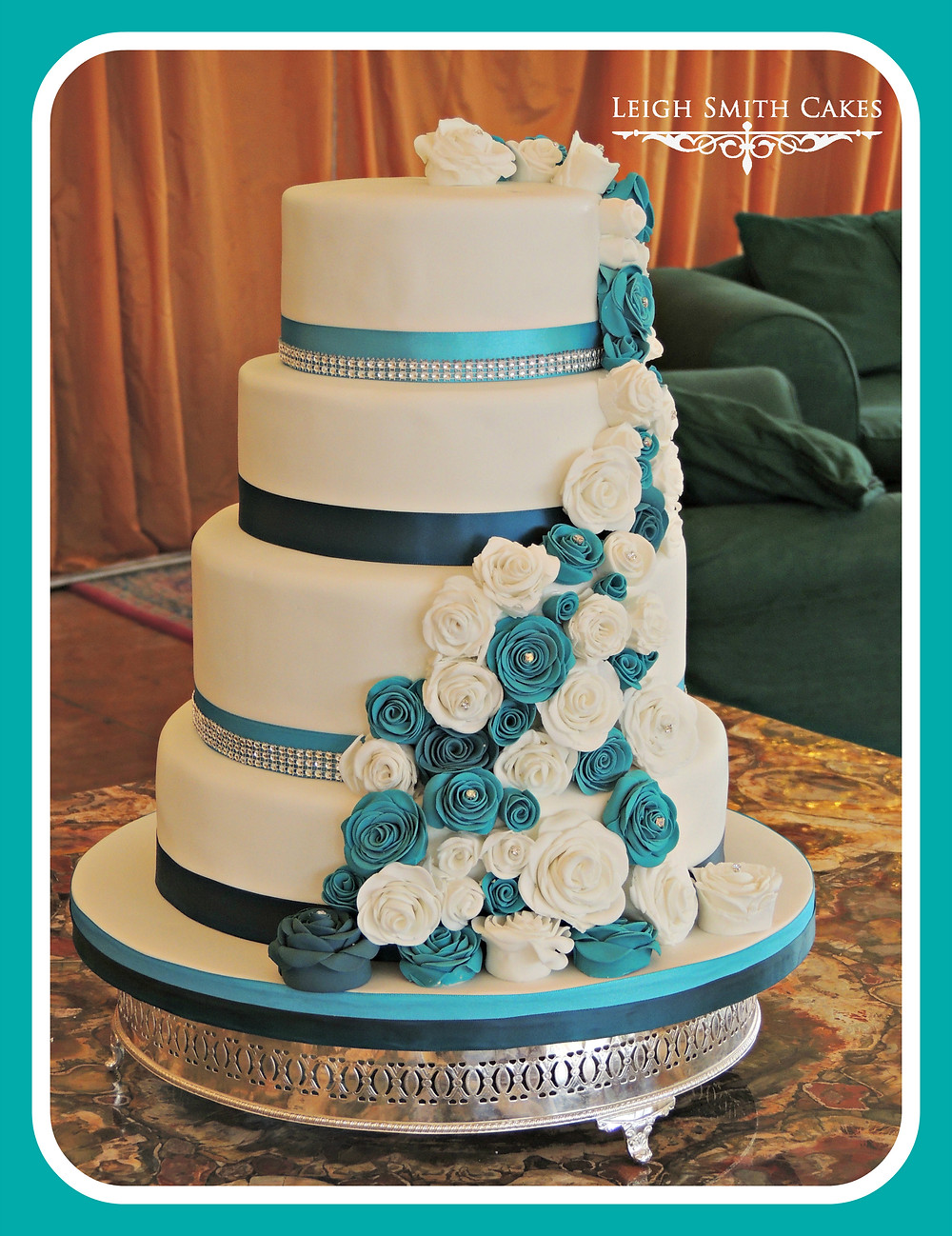 Wedding cake with teal sugar roses
