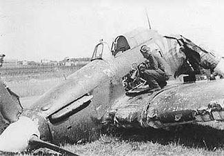 Crashed Hawker Hurricane