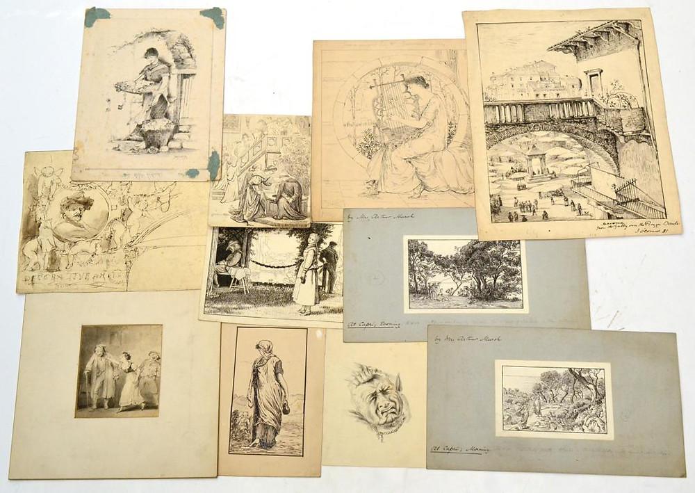 Mrs Arthur Murch Pen & Ink drawings