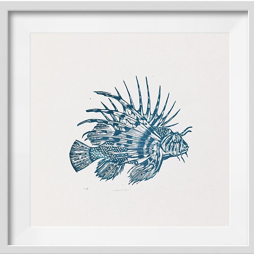 'Lionfish' Original Linocut Print