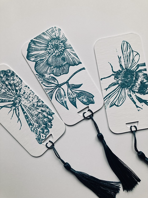 Linocut Bookmarks - Set of 3