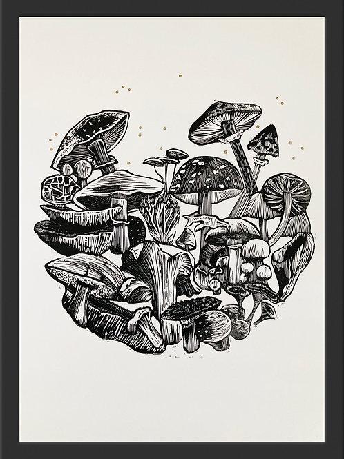 'Magic Mushrooms' Original Linocut Print