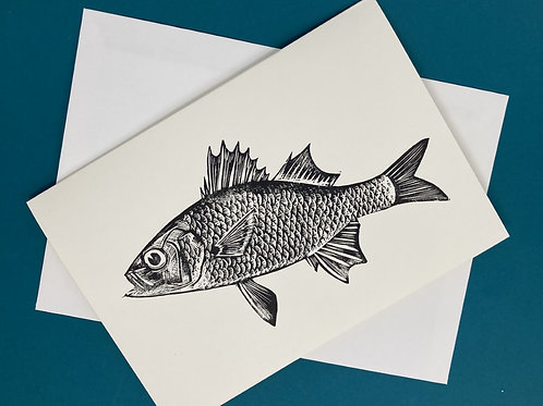 'Perch' Linocut Blank Greeting Card