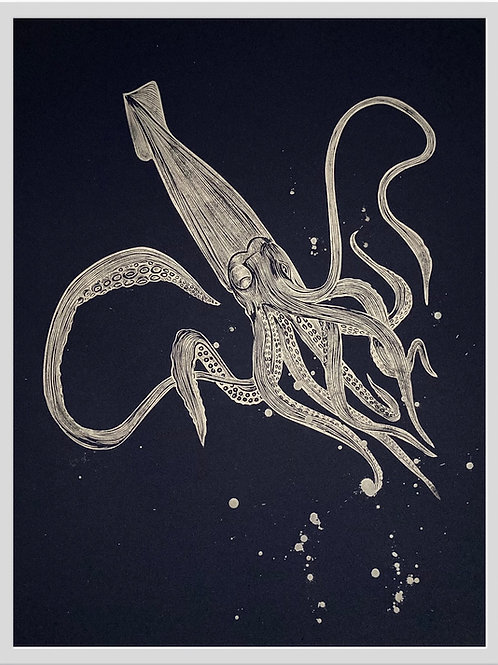 Giant Squid Limited Edition Original Linocut (Unframed)