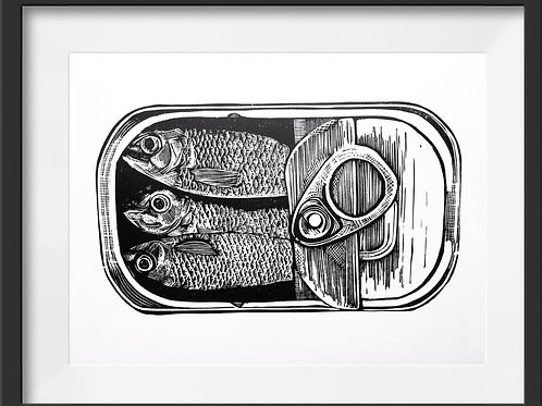 'Tin of Sardines' Original Linocut Print (Unframed)