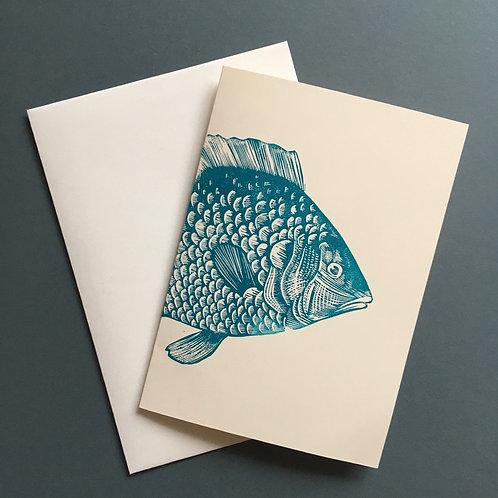 'Fish' Linocut Blank Greeting Card