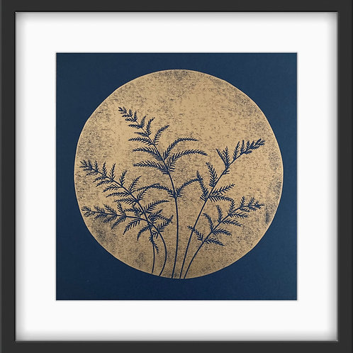 Ferns - Original Linocut Print (Copper on Indigo)