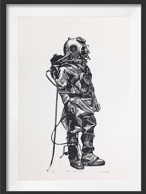 'Deep Sea Diver' Original Linocut Print